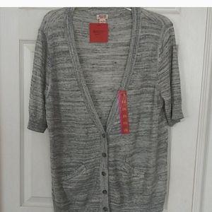 Short Sleeve Cardigan Gray Top
